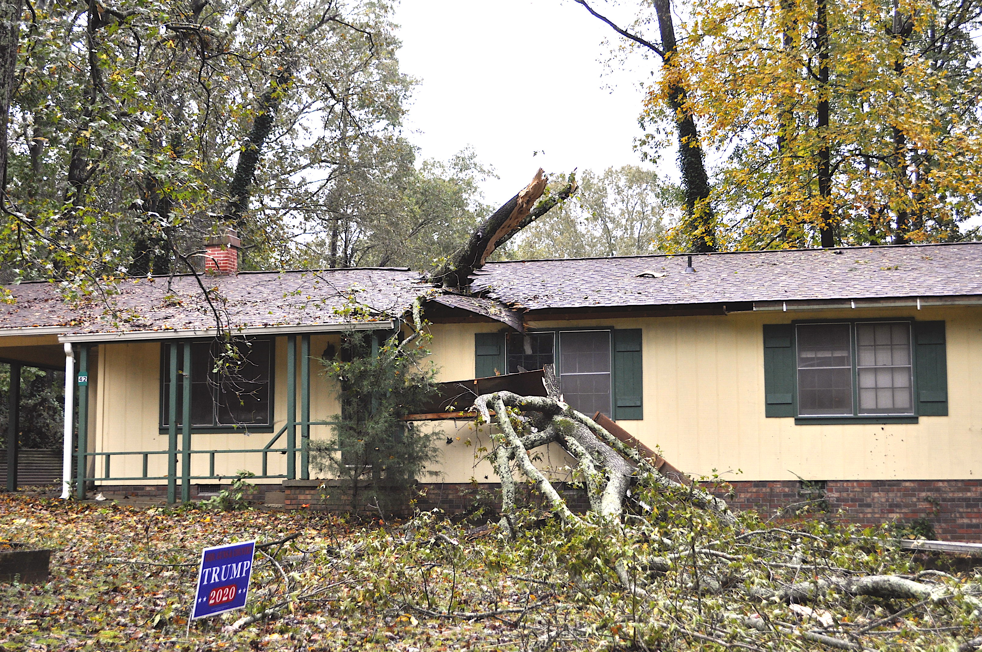 This home on Andrews Court suffered damage from fallen trees after the ramnanrs of Tropical Storm Zeta blew through Stephens County the night of Oct. 28-29.