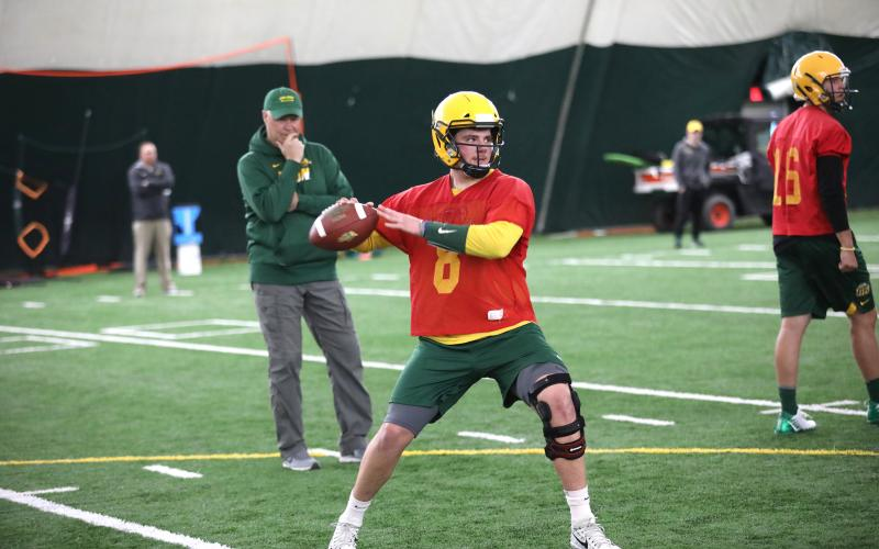 Former Stephens County Indian quarterback Zeb Noland works out in a North Dakota State University practice session.