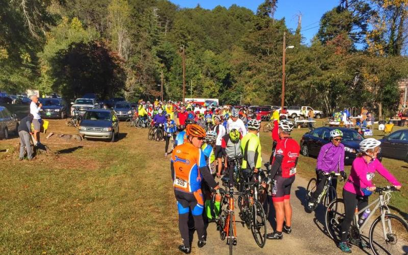 Bicyclists gather at Yonah Dam Park for the start of a previous Tour de Tugaloo. This is the 17th year of the popular bicycle ride.