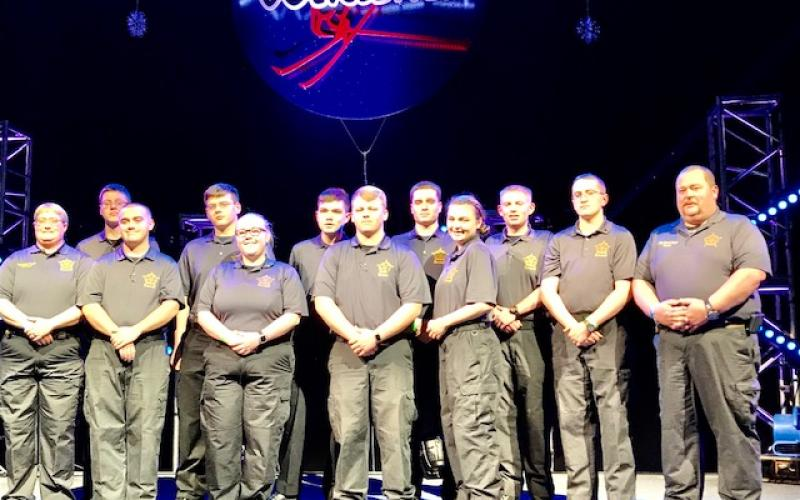 Members of the Stephens County Sheriff's Office Explorer Post 77 are (front, from left) SRO Deputy Fowler, Explorer Kasey York, Explorer Cpl. Hannah Murphy, Explorer Pfc. Davey Patterson and  Explorer Katie William. At rear are  Explorer Joseph Helton, Explorer Nick Marstellar, Explorer Issac Littleton, Explorer Troy Broska, Explorer Sgt. Evan Lewellen, Explorer Lt. Miles Peck and SRO Cpl. David Kiser.