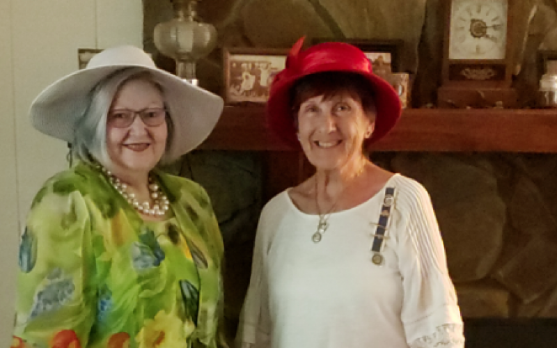 Toccoa DAR members DiAnne Collins (left) and Kathleen Townsend attended the state virtual tea party in July. Not pictured are Paige Dooley and Linda Hogsed.