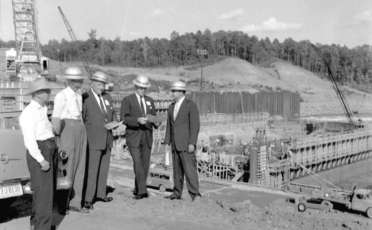 Shown in this undated photo is a group of men at the Hartwell Dam construction site. Construction of the dam began in 1955, after being authorized by the Flood Control Act of 1950.