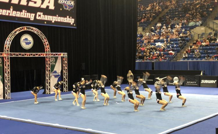Stephens County cheerleaders competing at state