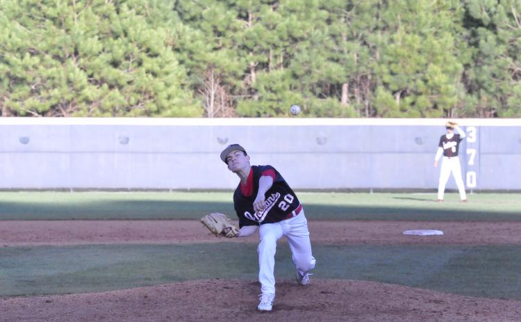 Carson Worley fires a pitch against Habersham Central