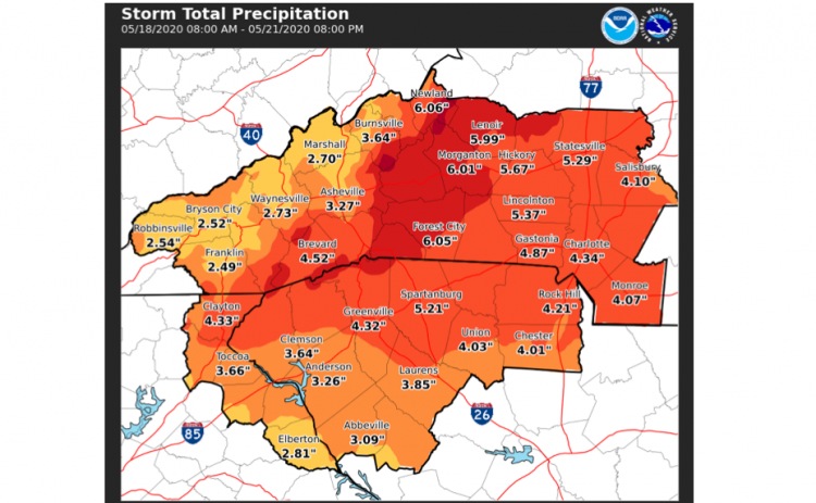 Flooding is possible through Thursday, May 21, 2020, according to the National Weather Service.