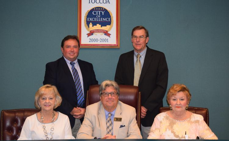 The Toccoa City Council, left to right, Gail Fry, Terry Carter, David Austin, Evan Hellenga, and Jeanette Jamieson.