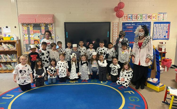 Some students and staff at Big A Elementary School recently celebrated the 101st day of school being in session by dressing as the 101 dalmations. Pictured in Mrs. Jodi Plaisted's class are (front, from left) Bella Torres, Kellynn Rodriguez, Izzy Lerma, Paislee Bohannon, Emma Carpenter, Kylee Smith, Ember Johnson, Aaliyah McCoy, Kaley Shook, Sophia Bridges, and principal Mrs. Regina Bayles. On the second row are Braxtyn Rogers, Braxton Schultz, Kreed Ivey, Kel Bennett, Aiden Terrell, Donnie Vinson, Andrew G
